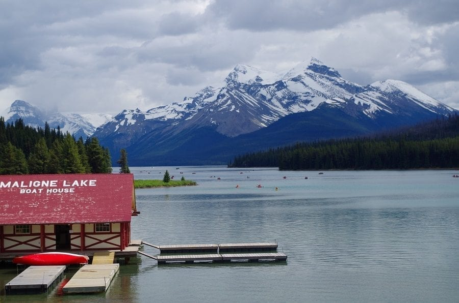 Boats on Water At Maligne Lake