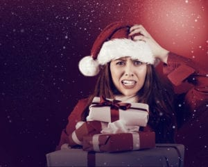 Woman trying to figure out what present to give
