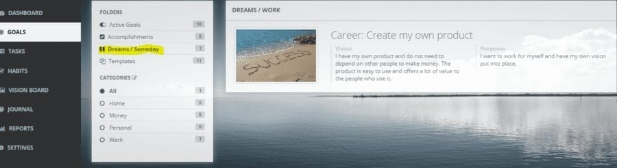 dreams goals on track: Goal setting software and Lifebook