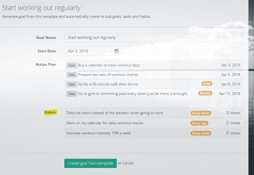 habits in goals on track: Goal setting software and Lifebook
