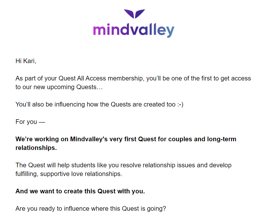 Mindvalley Quest All Access Pass Email Screenshot