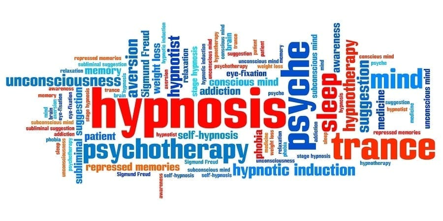 Hypnosis issues and concepts word cloud illustration.