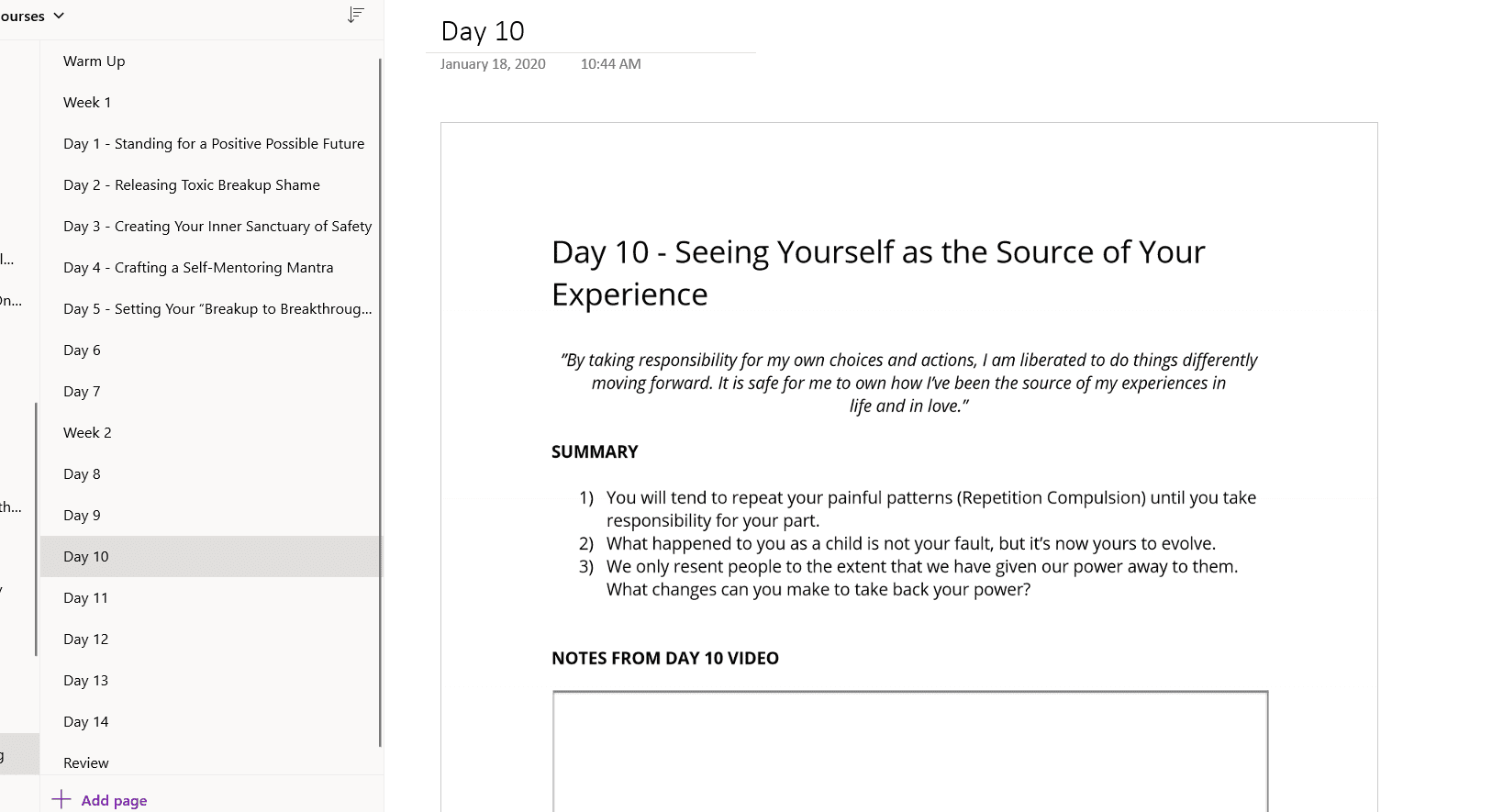 Day 10 copy and paste OneNote Mindvalley Quest