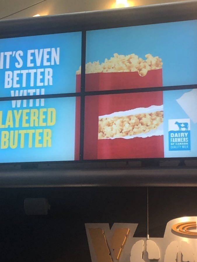 Dairy in Cineplex Movie Popcorn