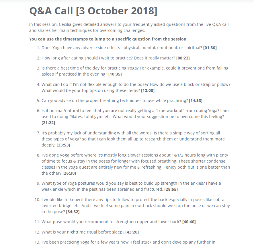 q&A call yoga quest