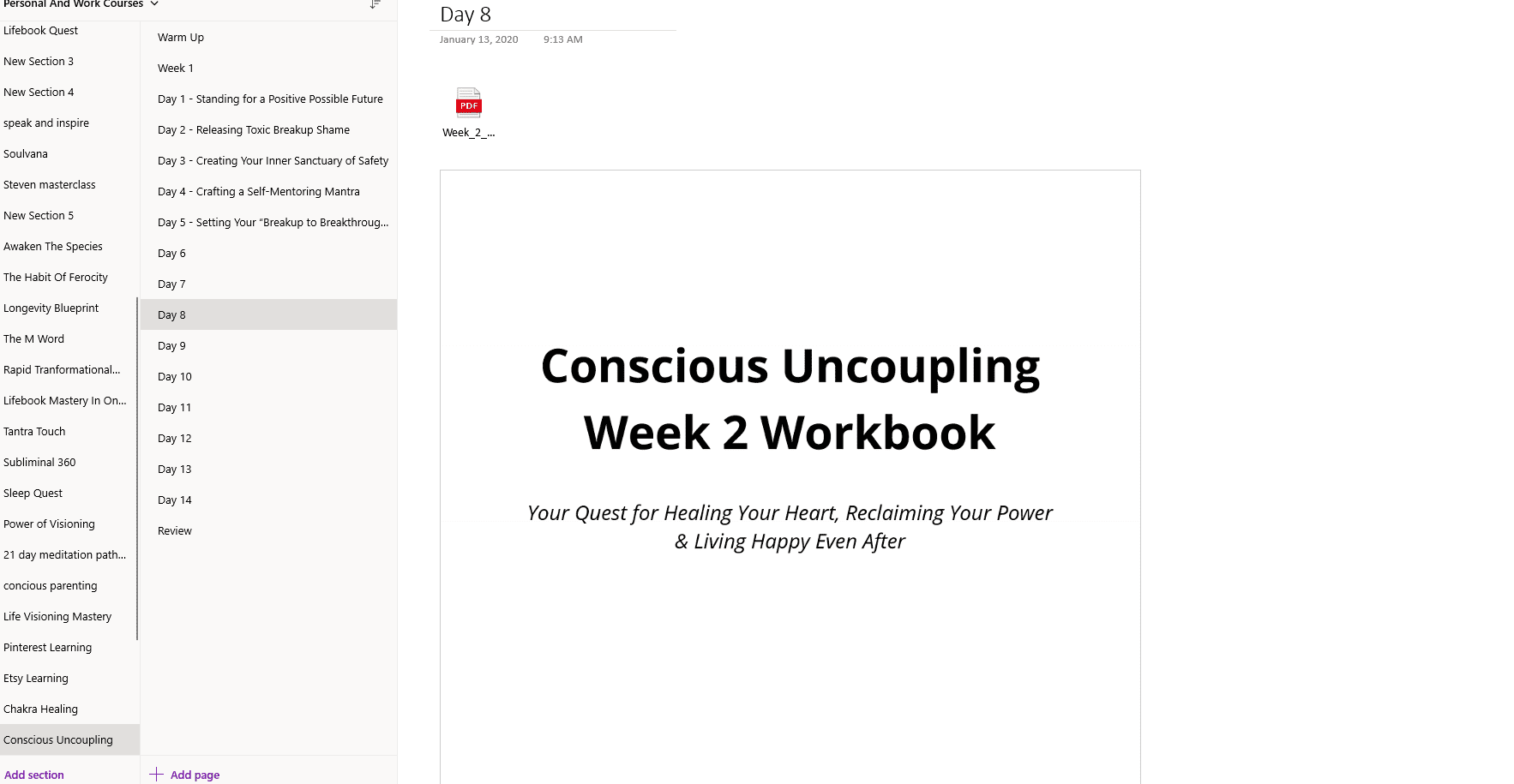 workbook Conscious Uncoupling In OneNote