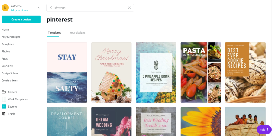 Pinterest Canva search