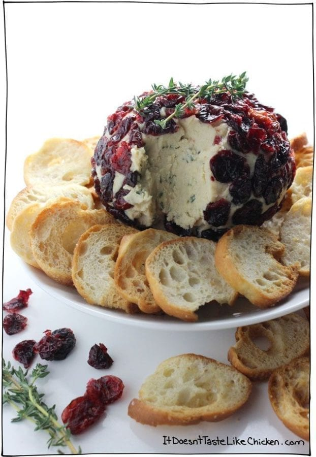 Cranberry & Thyme Vegan Cheese Ball (it doesn't taste like chicken)