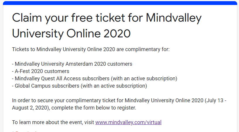 Mindvalley University Online 2020