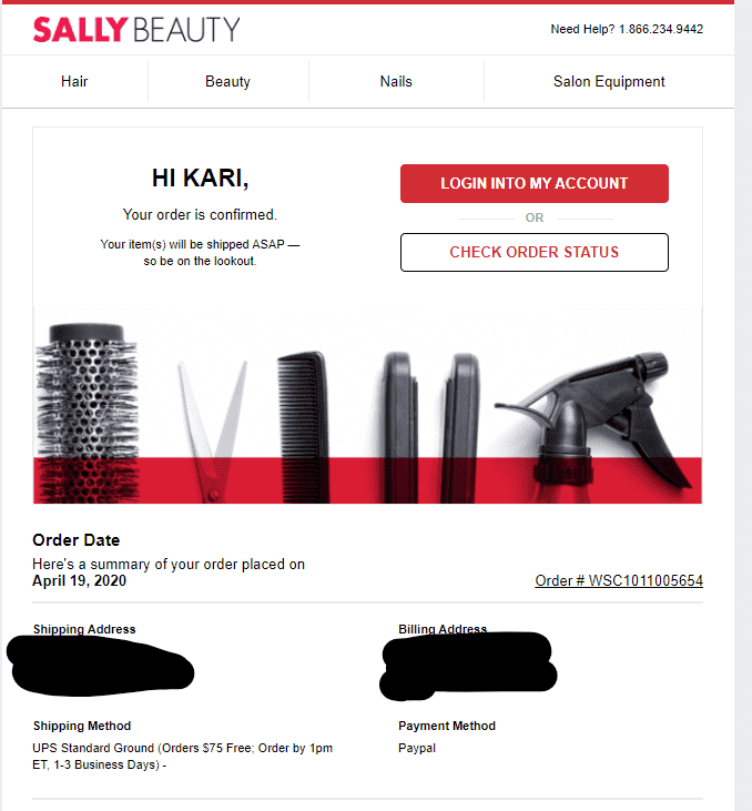Sally Beauty Online Order Receipt