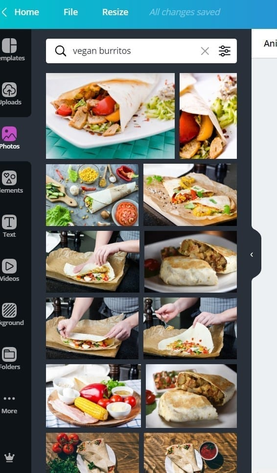 canva screenshot of burritos