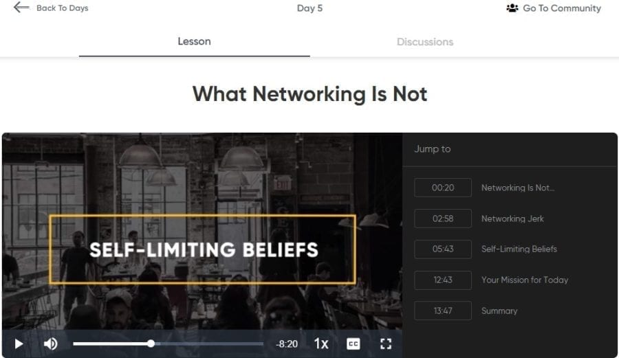 Mastering Authentic Networking quest by Keith Ferrazzi screenshot of what networking is not day