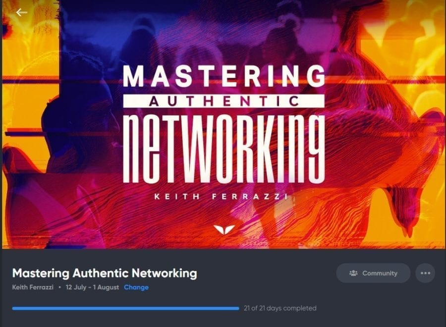 Mastering Authentic Networking quest by Keith Ferrazzi screenshot