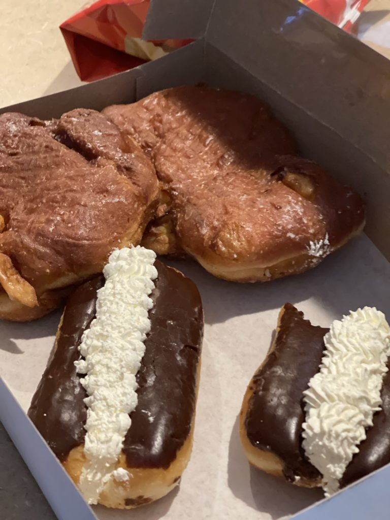 vegan eclairs and fritter